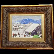 Adelene, Folk Art Turkey Farm In The Snow Acrylic Painting Signed by Artist