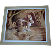 Larry Toschik (born 1922) Pastel Painting of Wild Bunny Rabbit Signed by Artist