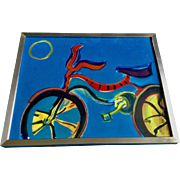A Brilliant Bicycle Mountain Bike Acrylic Mixed Media Painting on Paper