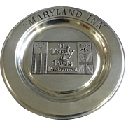 "Maryland Inn Pewter Plate The Treaty of Paris Restaurant Wilton Armetale USA Collectors 11"" Dish"