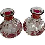Vintage Paneled Grape Vine Ruby Red Flashed Westmoreland Glass Co. Rare Iridescent Candlesticks Handle Holders