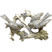 Vintage Crowning Touch Love Birds Wreath Tree Branch 3D Ceramic Wall Hanging Made in Japan Ceramic