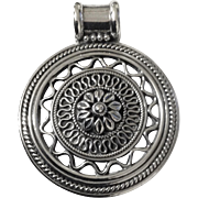 Sterling Silver Beautiful Ethnic Medallion Pendant 925 India with Large Bale