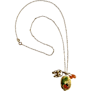 """Lady Bug on Flower, Golden Birdies in Swing Pendant Charms on 1/20 14Kt GF Chain Costume Jewelry 19-1/4"""" Long"""