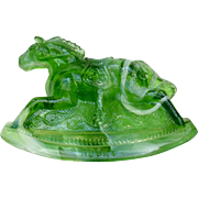 Vintage Rocky Rocking Horse #8 Clear Slag Marble Green Carnival Glass Guernsey Mosser 4-1/4 Inches 1982
