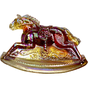 Vintage Rocky Rocking Horse #2 Clear Iridescent Fire Red and Yellow Carnival Glass Guernsey Mosser 4-1/4 Inches 1982
