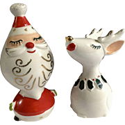 1959 Santa Claus & Reindeer Napco National Potteries Salt & Pepper Shakers Christmas Ceramic Made in Japan