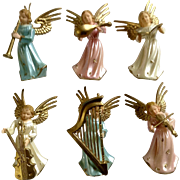 Vintage ARA Miniature Plastic Angel Musicians Choir Lot Made in Hong Kong Group 6