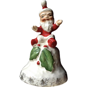 Mid- Century Santa Claus Christmas Bell Made in Japan Ceramic Figurine Vintage