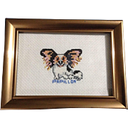 Adorable Papillon Dog Needlepoint Hand Made Wall and Desk Top Art Framed