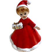 Vintage Josef Originals Christmas Santa Hat Girl Holding a Present Ceramic Figurine Made in Japan