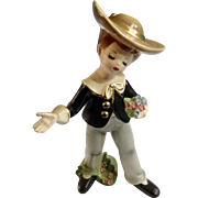 Josef Originals Serenade Boy with Bouquet of Flowers Ceramic Figurine Made in Japan