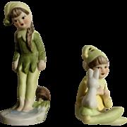Vintage Pixie Elf Boy & Girl Set with Mushroom & Bunny Rabbit Porcelain Bisque Figurines #700