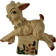 Playful Baby Billy Goat Jumping Ceramic Figurine Planter Vase Ceramic Fashions by Opco