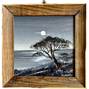 Miniature Oil Painting Tree by the Sea at Moonlight Signed By Artist