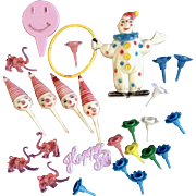 Mid-Century 24 Birthday Plastic Cake Toppers Circus Clowns Pink Elephants & Flower Petals