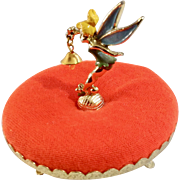 Mid-Century Walt Disney Productions Tinker Bell Metal on Retro Pedestal Orange Pincushion Figurine