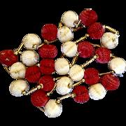 "Vintage Rare Christmas Tree Garland Paper Honeycomb Balls Glitter Cream & Red  112"" / 9 feet 4"""