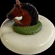 Beautiful Marble Metal Horse Head Hand Painted Enamel Figurine Paperweight
