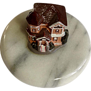 Beautiful Marble Metal Victorian House Hand Painted Enamel Figurine Paperweight