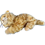Discontinued 2007 Steiff Red Tabby Cat EAN 099489 Woven Fur Stuffed Plush Animal With Ear Button & Tag