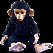 Vintage Gund Rubber Face Monkey Sleeping Eyes Life Like Black Chimp Stuffed Animal Plush