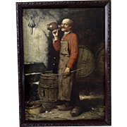 Old Dutch Beer Brewmaster Antique Oil Painting on Wood Plank