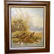 J Graham Pheasant Game Bird Hunting Landscape Oil Painting on Canvas Signed by Artist