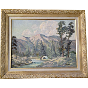 H Roos, Impressionist Landscape Oil Painting Camping in Mountain Valley Signed by Artist