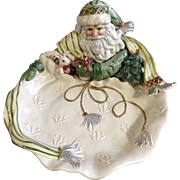 """Gregorian Collection by Fitz & Floyd Christmas Santa Claus Green Hat  14"""" Round Figurine Serving Bowl with Original Box"""