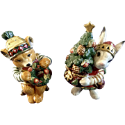 Retired Christmas Lodge by Fitz & Floyd Bunny Rabbit and Bear Salt & Pepper Shakers