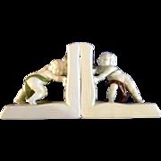 Rare Global Views Inc. Figural Bookends Children Pushing Open Books Ceramic Figurines
