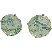 "Stunning Aqua Blue & Silver-tone Large Clip on Earrings 1-3/8"" in Diameter"
