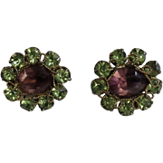 Green and Purple Faux Amethyst Crystal Glass Rhinestones with thin Gold-tone Filigree on 1940's Clip on Earrings Costume Jewelry