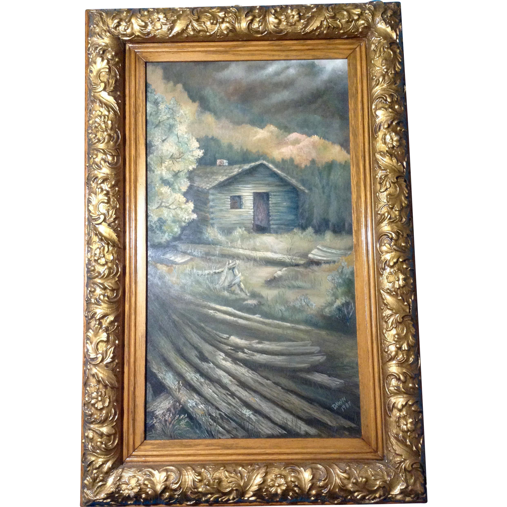 Mountain Top Log Cabin Painting Original Oil On Board