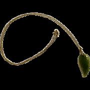 """Vintage Jade Green Leaf Hand Carved on 1/20 14 kt Gold Filled Chain Necklace 19"""""""