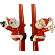 Napco Santa Claus Candle Climbers, Huggers with Candy Cane and package Ceramic Christmas Figurines National Potteries 1957 38x2746