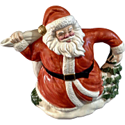 Vintage Fitz and Floyd German Santa Claus Teapot Laughing Saint Nick with Toy Sack and Christmas Tree 1989 OCI Omnibus 50oz