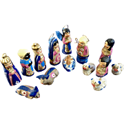 Vintage Nacimientos Nativity Set of Jesus, Mary, Joseph, Shepards, Wise Men, Sheep, Cows and Angel Terracotta Earthenware Mexican Folk Art Pottery Figurines 14pcs