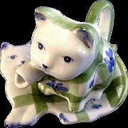 Andrea by Sadek Kitty Cat Miniature Floral Creamer Teapot and Tea Bag Plate