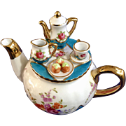 Lillian Vernon Miniature Floral Tea Set or Coffee Service on Porcelain Teapot Lid