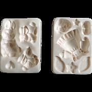 1997 Amaco Polymer Clay Push Molds Angel Doll & Bunnies By Judi Maddigan Off Card
