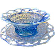 Vintage Imperial Glass Lace Edged Katy Blue Sugar Cane Opalescent Bowl & Plate