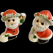 Vintage Napco Miniature Christmas Santa Claus Set Spaghetti Trim Bone China Figurines