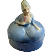 Vintage German Porcelain Victorian Figural Lady Half Doll Miniature Trinket Box