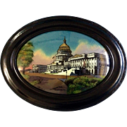 U.S. Capitol Building, Washington D.C. Reverse Painted Curved Convex Bubble Glass Painting 1916