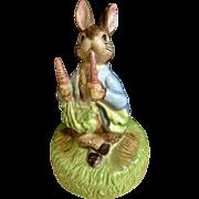 1977 Schmid Beatrix Potter Peter Rabbit Eating Carrots Music Box F. Warne Co. Plays, It's a Small World