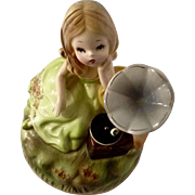 Vintage Josef Originals Music Box Girl Figurine Gramophone Plays Love Me Tender