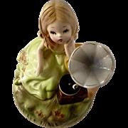 Vintage Josef Originals Music Box Girl Figurine Gramophone Plays Love Me Tender