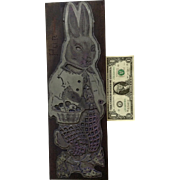 """Vintage Huge Easter Bunny Printing Letterpress Printers Block Typesetting Metal on Wood 16"""""""